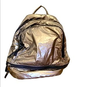 NWOT Madison West Metallic Backpack SILVER/GOLD